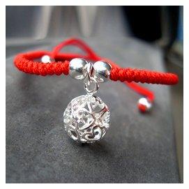 純銀心球紅繩腳鏈男女款日 簡約本命年生日未鑲嵌情侶 飾品