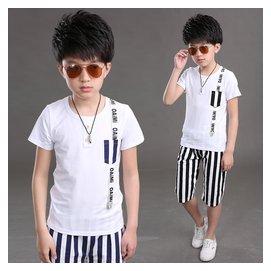 品牌男童夏裝套裝中大童兒童 短袖男孩 兩件套160潮9~10~12