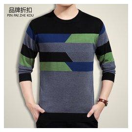 鼕季中年毛衣 男士條紋圓領大碼加厚加絨羊毛衫寬松爸爸裝針織衫