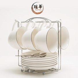 瑤華 陶瓷杯歐式咖啡杯套裝高檔黃金鑲邊 6件套咖啡杯碟勺架子