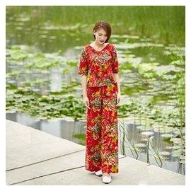 女式套裝原創民族風棉麻 闊腿褲套裝文藝復古女裝套