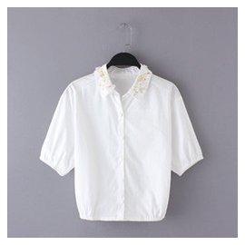 BZ42 單品2015女裝夏裝 亮片花串珠刺繡領 五分袖全棉襯衣襯衫