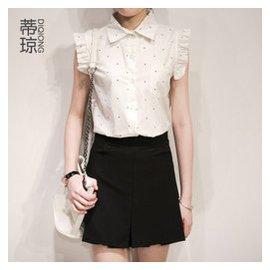蒂瓊 2015 木耳邊波點襯衫 小清新白色無袖上衣女裝襯衣