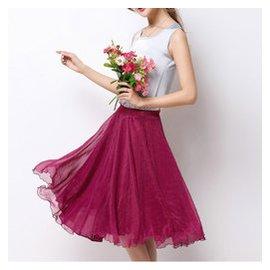 春 雪紡中長款半身裙 顯瘦A字裙復古高腰大擺裙 仙女紗裙中裙