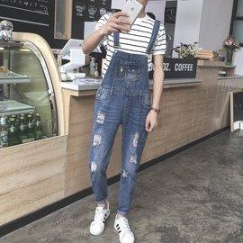 Coming Now ~ 韓國 復古純色懷舊風 文藝青春破壞 牛仔吊帶褲 ~ S號清