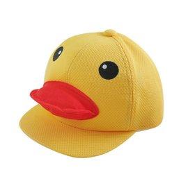 ~二鹿帽飾 ~~黃色小鴨帽子~台製~可愛爆款黃色小鴨立體嘴巴 ^(50^~56cm^)球網