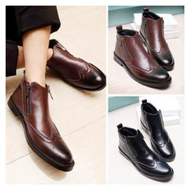 布洛克男靴英倫雕花靴子男馬丁靴真皮男靴高幫男鞋短靴44碼45大碼