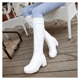 2014秋鼕鞋繫帶靴子黑色純白色男女高筒馬丁靴子大碼女士長靴子潮
