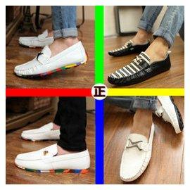 豆豆鞋懶人鞋潮流男鞋子英倫男士 鞋駕車鞋帆船鞋白色皮鞋