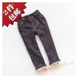 韓單新品純棉牛仔褲超柔軟加絨男童女童兒童長褲秋鼕 靴褲鼕