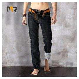 任先生男士牛仔褲秋鼕款彈力加厚男褲子大碼修身直筒加絨牛仔褲男