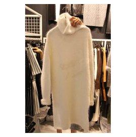 韓國 秋鼕新品高領毛衣中長款打底衫女士套頭加厚貂絨毛衣裙潮