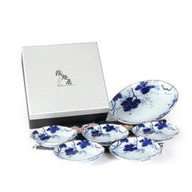 藍染葡萄五個小碟一大盤套裝陶瓷碟子釉下彩小碟菜碟 葡萄1盤5碟~007 7