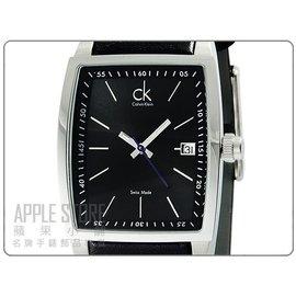 ╭~Let s 購~ CK  Calvin Klein 凱文克萊酒桶型 皮帶錶~黑 ^#