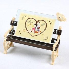 影樓 公園長椅塑料玻璃小熊相架擺臺擺式兒童寶寶相框5大6 7寸