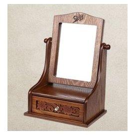 ^~WI^~中國風實木典雅化妝鏡大號可翻轉鏡子中式複古木質梳妝鏡美顏高清公主鏡 桌上立鏡