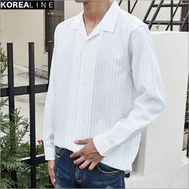ZINIF 搖滾星球╳韓空線 慵懶風格無極限 睡衣領條紋襯衫 正韓 韓國 17254