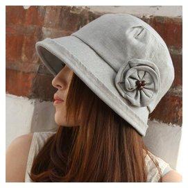 花朵圓頂帽子 春 棉麻漁夫帽 女士時裝戶外遮陽帽小盆帽