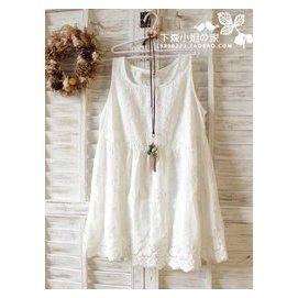 日單森女繫 文藝小清新繡花蕾絲刺繡白色連衣裙無袖背心襯裙 女夏