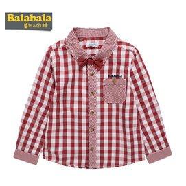 巴拉巴拉襯衣 秋裝男長袖嬰兒格子襯衫男童純棉兒童寶寶 潮
