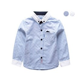 兒童襯衣 2014秋裝 春秋波點純棉翻領寶寶上衣男童長袖襯衫