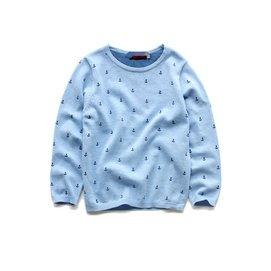 出口外貿原單男童 針織衫套頭衫薄毛衣線衫船錨印花羊毛衫多色