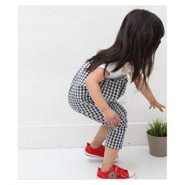 201春夏高 男女童寶寶可愛純棉小格子水洗弔帶連體褲背帶