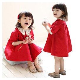 2014春秋裝女 兒童蕾絲裙衣長袖連衣裙周歲禮服裙紅色公主裙子