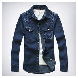 穿小蒼男裝2014秋裝新品迷彩拼接男式牛仔長袖襯衫潮襯衣薄外套