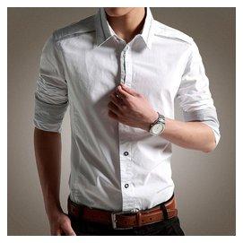 海瀾之家男士長袖襯衫潮流純白色商務 純色秋裝小方領迷彩英倫