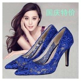 韓板式女鞋尖頭真皮中跟範冰冰同款蕾絲繡花秋鞋尖頭婚鞋單鞋