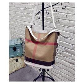 2014 B家女包 中號格子帆布HOBO包手提包斜 包單肩包水桶包