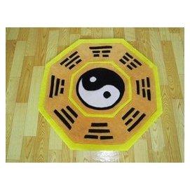 可訂制地毯圓形八卦陰陽太極圖地墊黑白紅黃色 100 120 150 200CM 黃八角 F