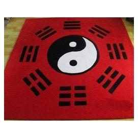 可訂制地毯 晴綸八卦陰陽太極圖地墊 200^~200 紅色 F45