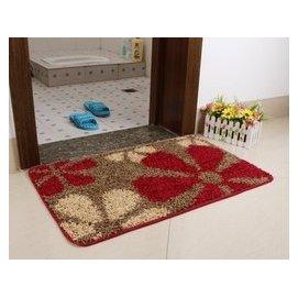 深色耐臟!衛生間陽臺吸水防滑地毯廚房廁所地墊門墊腳墊玄關 紅咖花朵 F8