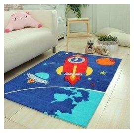 高檔 ?綸印花 客廳臥室地毯 動漫卡通汽車地毯 太空箭空 F38