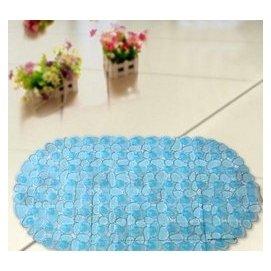 浴室洗澡防滑墊衛生間塑料地墊浴缸淋浴防滑腳墊衛浴墊 橢圓石頭透明藍 F51
