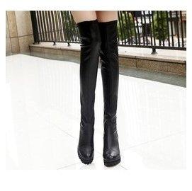 穿名堂 過膝長靴皮靴彈力靴真皮粗跟長筒女靴超高跟瘦腿高筒靴子783