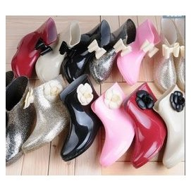 Trend女士雨鞋 雨靴韓國花朵防滑中筒短筒水鞋套鞋膠鞋加絨