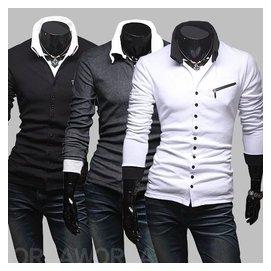 2015春款男士 獨特斜拉鏈裝飾單排 扣拼色立領 長袖針織