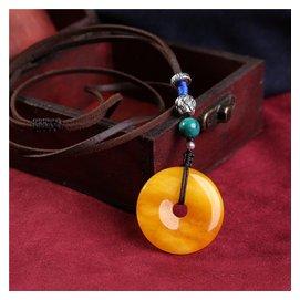 仙喜閣天然黃蜜蠟玉髓項鏈平安扣吊墜皮繩原創毛衣鏈民族風鎖骨鏈