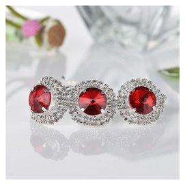 奢華 奧地利水晶紅寶石手鐲 925銀結婚手鏈 超閃送新娘伴娘
