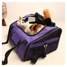 哲哲()狗包寵物外出背包 旅行便攜折疊包 狗狗帳篷 貓狗包 犬包 紫色
