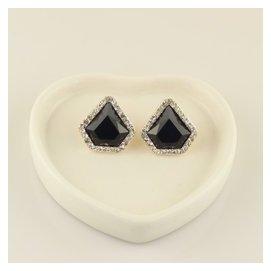 新品亞克力水晶耳釘 女 耳環黑色簡約耳扣韓國配飾裝飾品