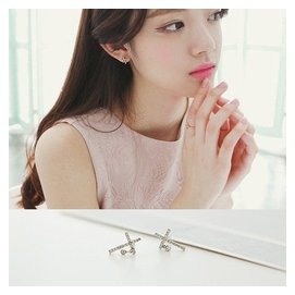 正品925純銀耳釘女 鑲鑽十字架氣質耳飾耳環防過敏