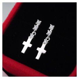 925純銀十字架耳釘女款鑲鑽長款奢華復古耳環耳飾