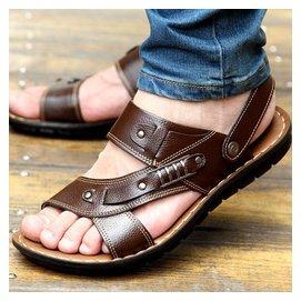 男士涼鞋真皮沙灘鞋男夏牛皮拖涼鞋大碼 透氣羅馬皮涼鞋男涼鞋
