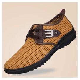駱駝港 大碼男涼鞋真皮涼鞋網面鞋洞洞透氣男式沙灘鞋潮男涼鞋