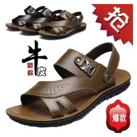 意爾康男涼鞋正品鞋 鞋男士真皮大碼男沙灘鞋37~48