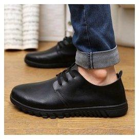 商務皮鞋圓頭真皮正品黑色潮男鞋子45大碼男士 鞋單鞋牛皮